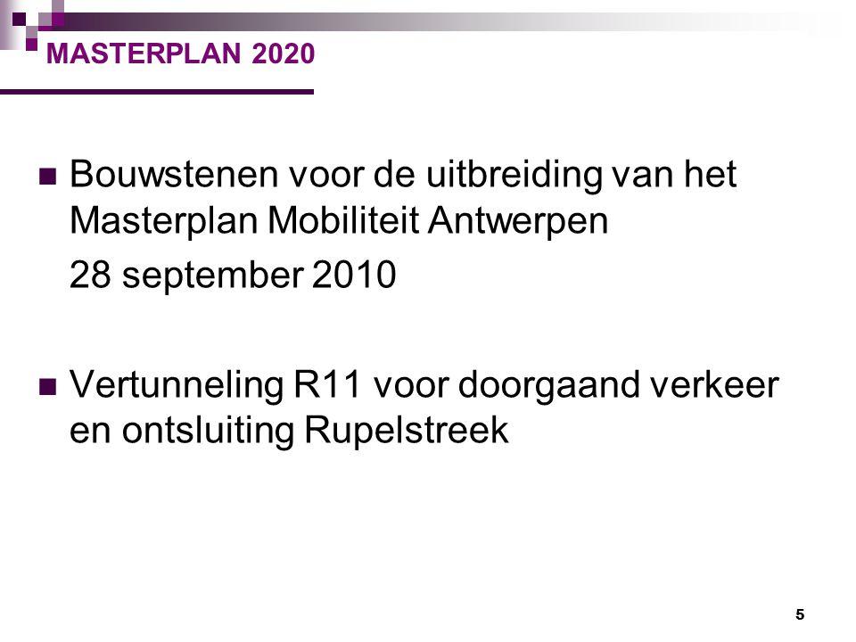 5 MASTERPLAN 2020 Bouwstenen voor de uitbreiding van het Masterplan Mobiliteit Antwerpen 28 september 2010 Vertunneling R11 voor doorgaand verkeer en