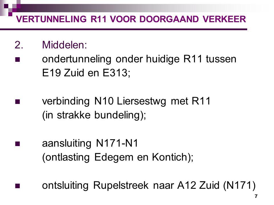 7 VERTUNNELING R11 VOOR DOORGAAND VERKEER 2.Middelen: ondertunneling onder huidige R11 tussen E19 Zuid en E313; verbinding N10 Liersestwg met R11 (in