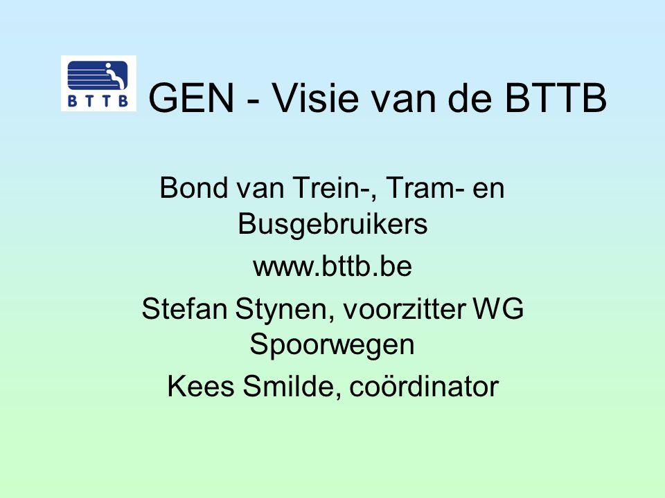 BTTB Opgericht in 1984 Behartigt reizigersbelangen in Vlaanderen en Brussel Vrijwilligers + professioneel secretariaat Adviseert projecten De Lijn in opdracht van de Vlaamse overheid Samenwerking met NoMo (Brussel) en ACTP (Wallonië) Secretariaat European Passengers' Federation