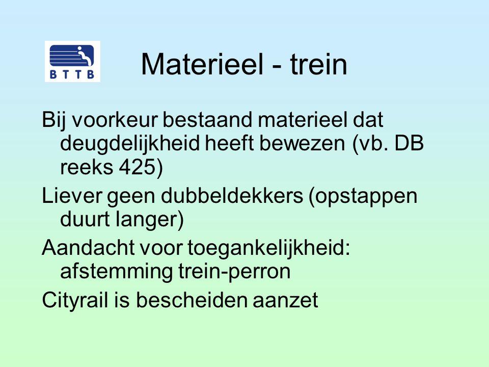 Materieel - trein Bij voorkeur bestaand materieel dat deugdelijkheid heeft bewezen (vb. DB reeks 425) Liever geen dubbeldekkers (opstappen duurt lange