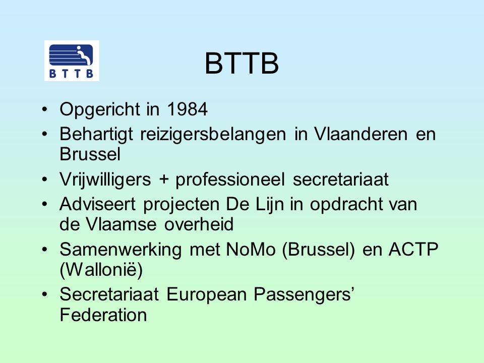 BTTB Opgericht in 1984 Behartigt reizigersbelangen in Vlaanderen en Brussel Vrijwilligers + professioneel secretariaat Adviseert projecten De Lijn in