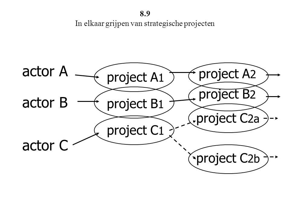 actor A actor B actor C project A 1 project B 1 project C 1 project A 2 project B 2 project C 2a project C 2b 8.9 In elkaar grijpen van strategische p
