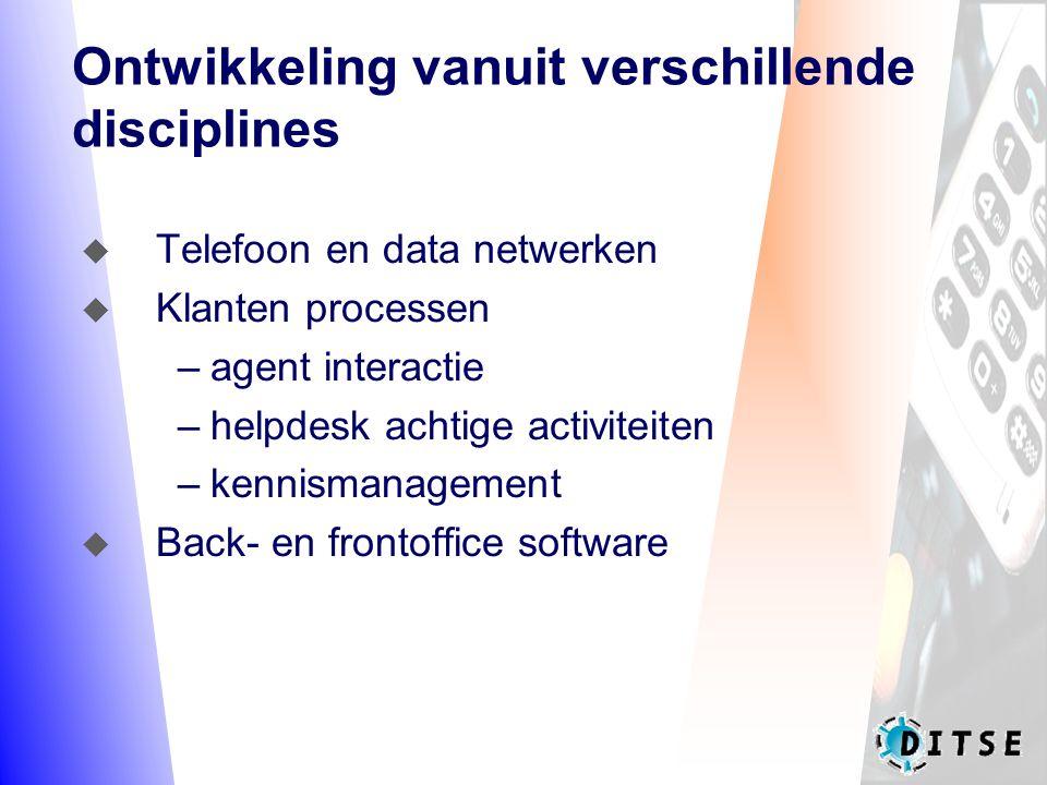 Ontwikkeling vanuit verschillende disciplines  Telefoon en data netwerken  Klanten processen –agent interactie –helpdesk achtige activiteiten –kennismanagement  Back- en frontoffice software