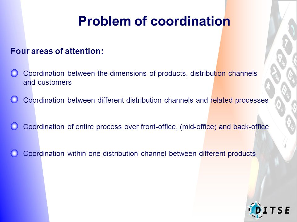 Problem of coordination Coordination between the dimensions of products, distribution channels and customers Coordination between different distribution channels and related processes Coordination of entire process over front-office, (mid-office) and back-office Coordination within one distribution channel between different products Four areas of attention: