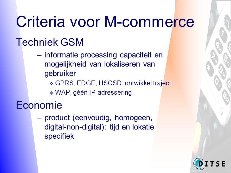 Criteria voor M-commerce Techniek GSM –informatie processing capaciteit en mogelijkheid van lokaliseren van gebruiker  GPRS, EDGE, HSCSD ontwikkel traject  WAP, géén IP-adressering Economie –product (eenvoudig, homogeen, digital-non-digital): tijd en lokatie specifiek