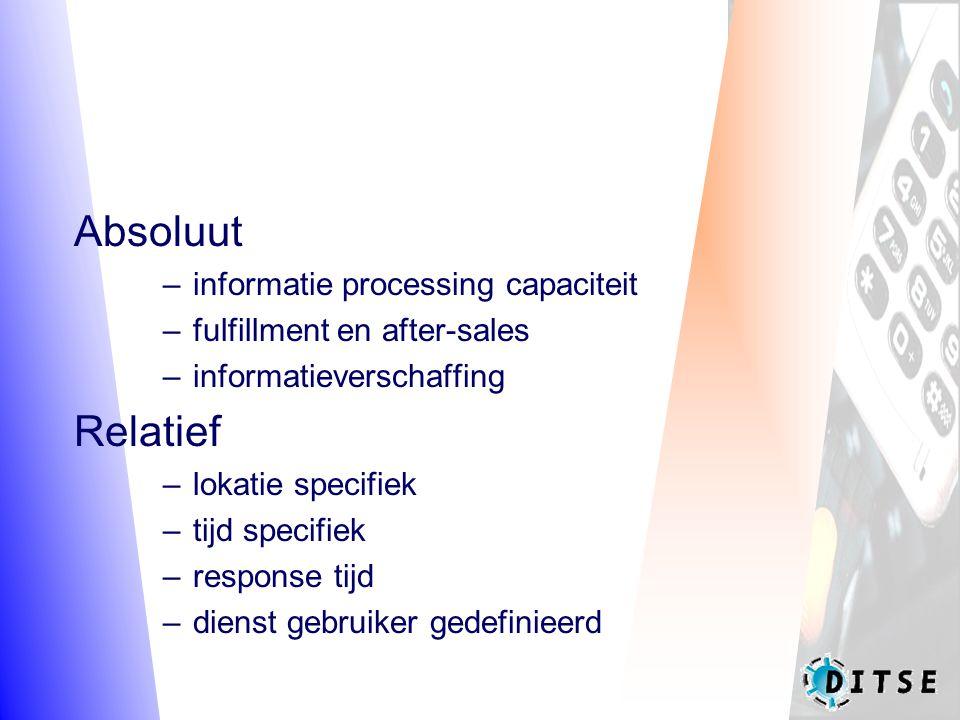 Absoluut –informatie processing capaciteit –fulfillment en after-sales –informatieverschaffing Relatief –lokatie specifiek –tijd specifiek –response tijd –dienst gebruiker gedefinieerd