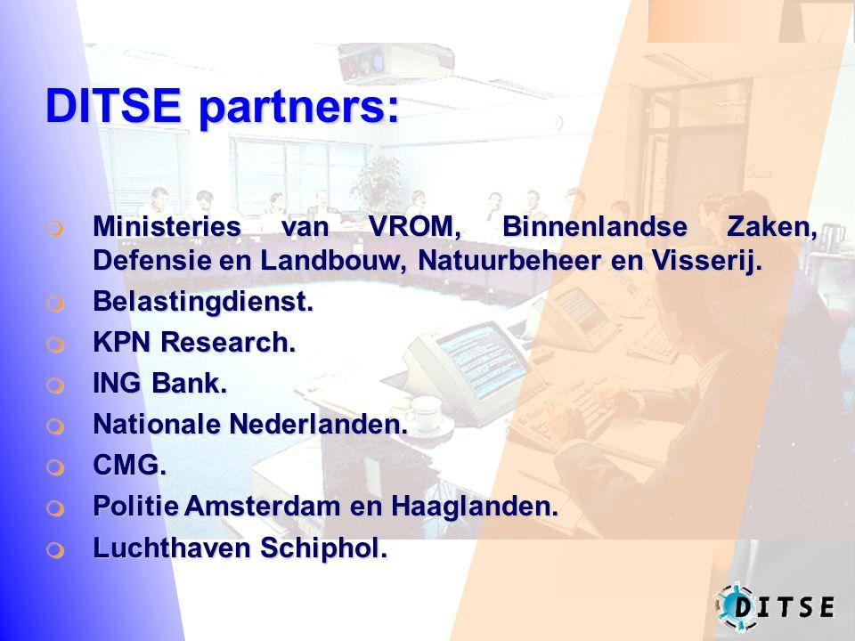 DITSE partners:  Ministeries van VROM, Binnenlandse Zaken, Defensie en Landbouw, Natuurbeheer en Visserij.  Belastingdienst.  KPN Research.  ING B