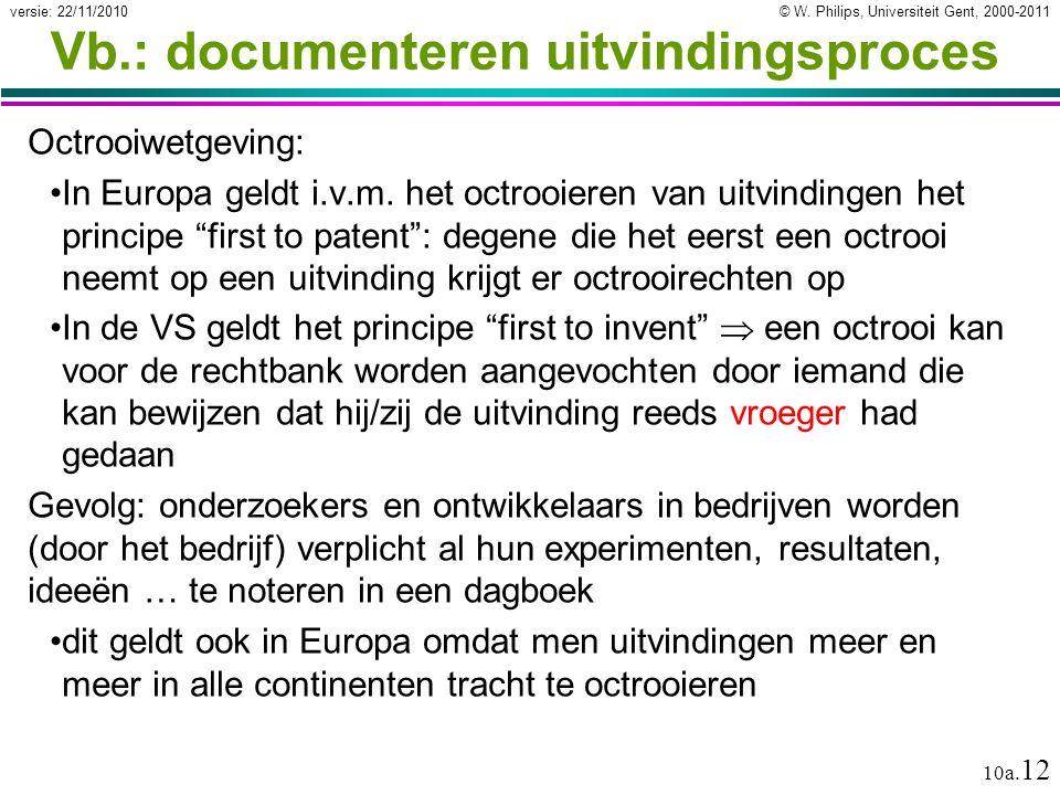 © W. Philips, Universiteit Gent, 2000-2011versie: 22/11/2010 10a. 12 Vb.: documenteren uitvindingsproces Octrooiwetgeving: In Europa geldt i.v.m. het
