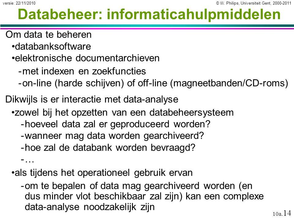 © W. Philips, Universiteit Gent, 2000-2011versie: 22/11/2010 10a. 14 Databeheer: informaticahulpmiddelen Om data te beheren databanksoftware elektroni