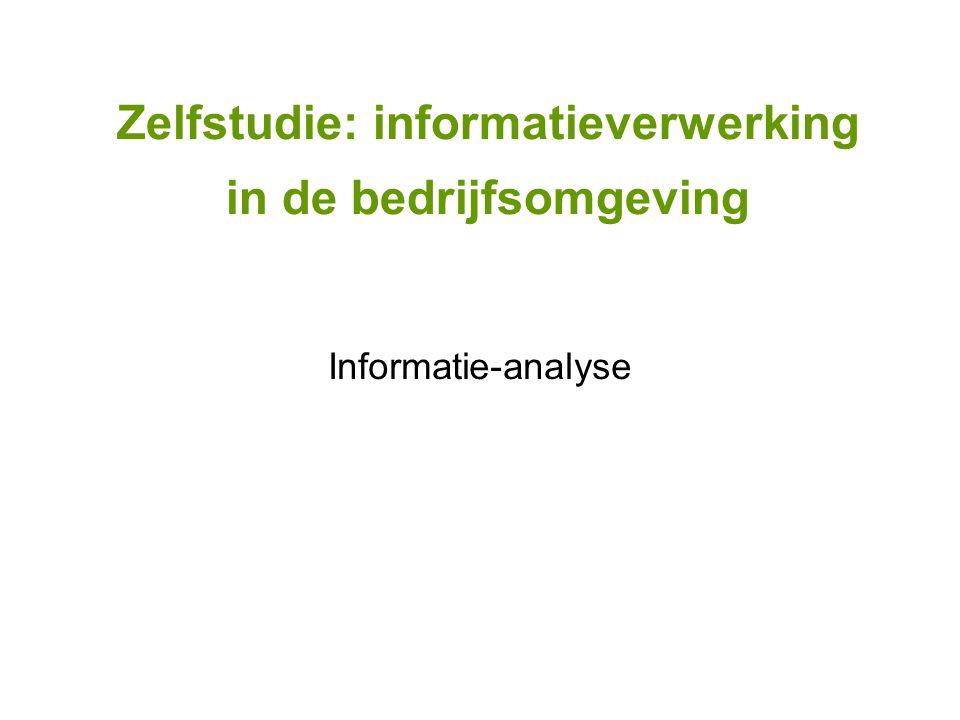 Zelfstudie: informatieverwerking in de bedrijfsomgeving Informatie-analyse