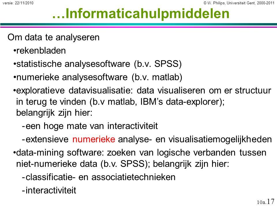 © W. Philips, Universiteit Gent, 2000-2011versie: 22/11/2010 10a. 17 …Informaticahulpmiddelen Om data te analyseren rekenbladen statistische analyseso