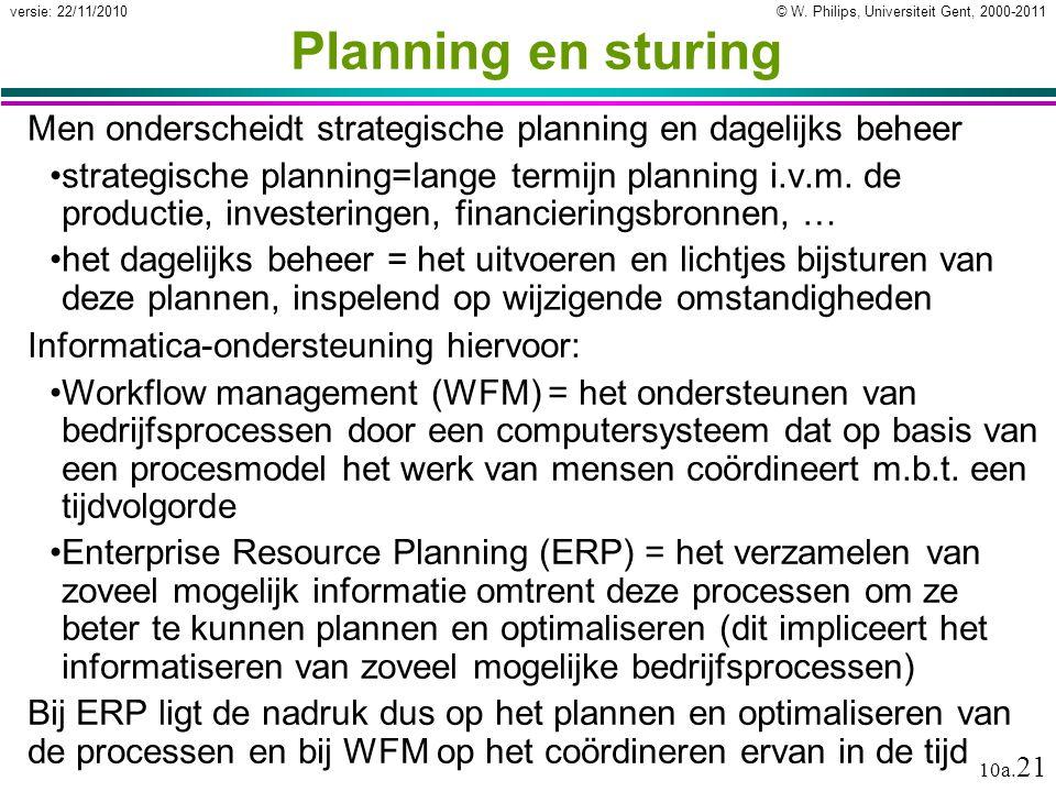© W. Philips, Universiteit Gent, 2000-2011versie: 22/11/2010 10a. 21 Planning en sturing Men onderscheidt strategische planning en dagelijks beheer st
