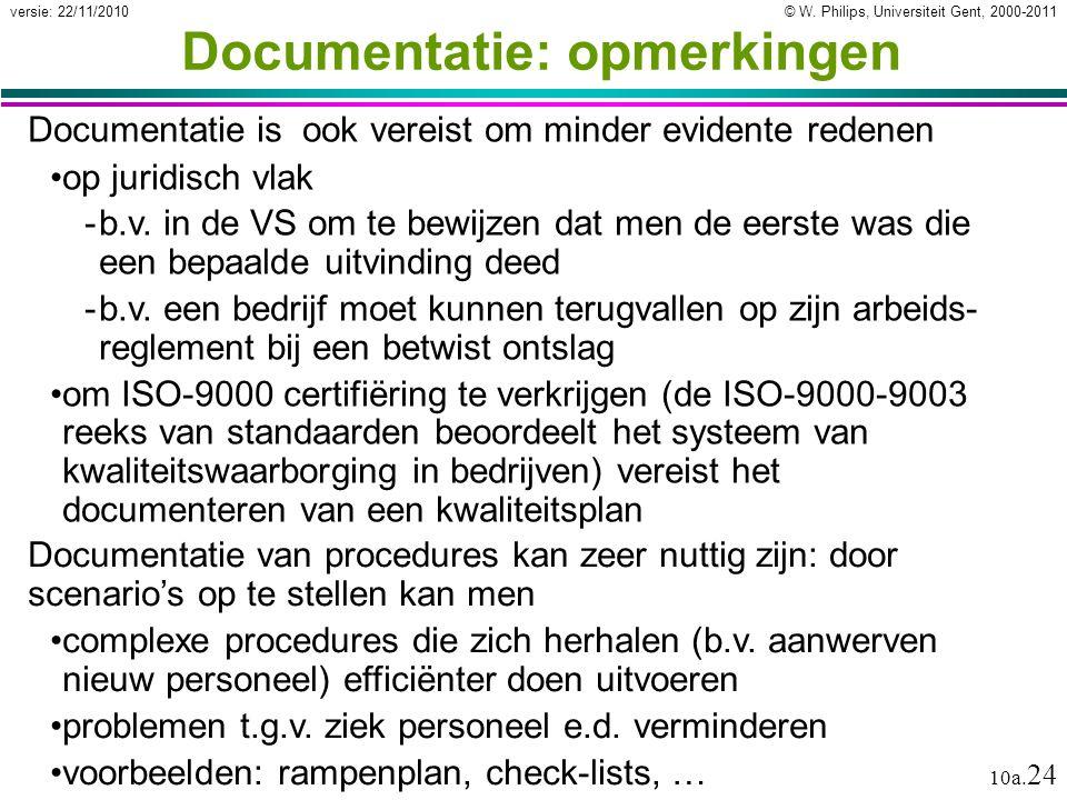 © W. Philips, Universiteit Gent, 2000-2011versie: 22/11/2010 10a. 24 Documentatie: opmerkingen Documentatie is ook vereist om minder evidente redenen