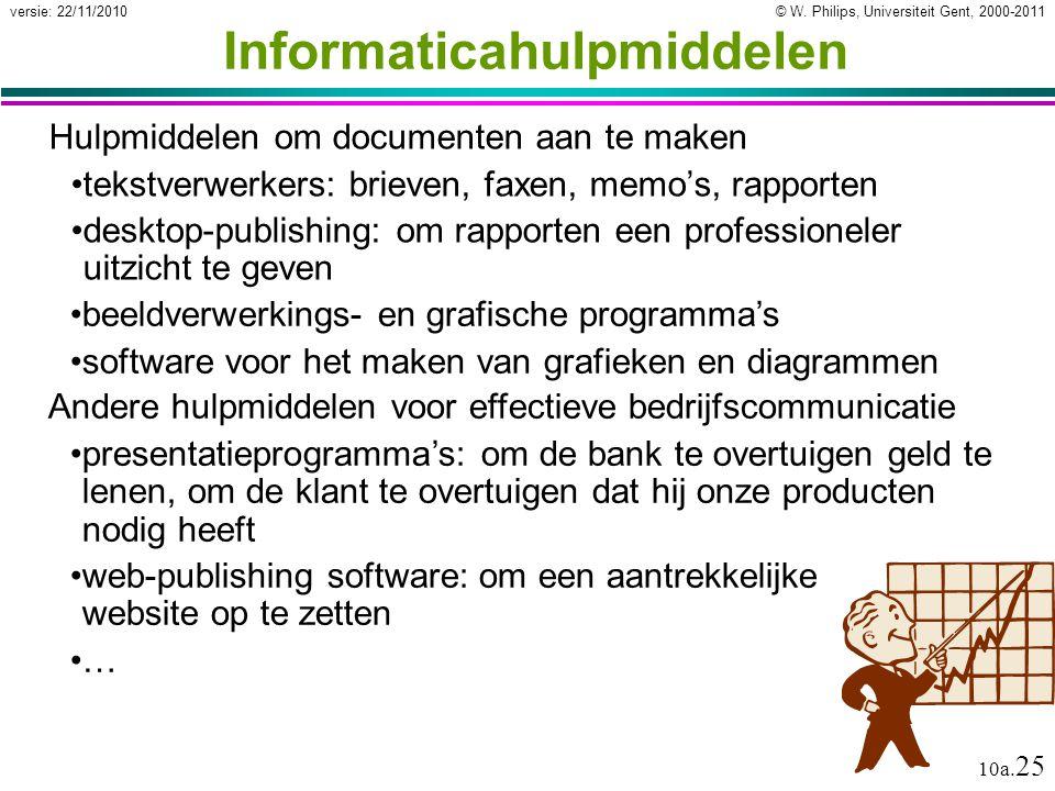 © W. Philips, Universiteit Gent, 2000-2011versie: 22/11/2010 10a. 25 Informaticahulpmiddelen Hulpmiddelen om documenten aan te maken tekstverwerkers: