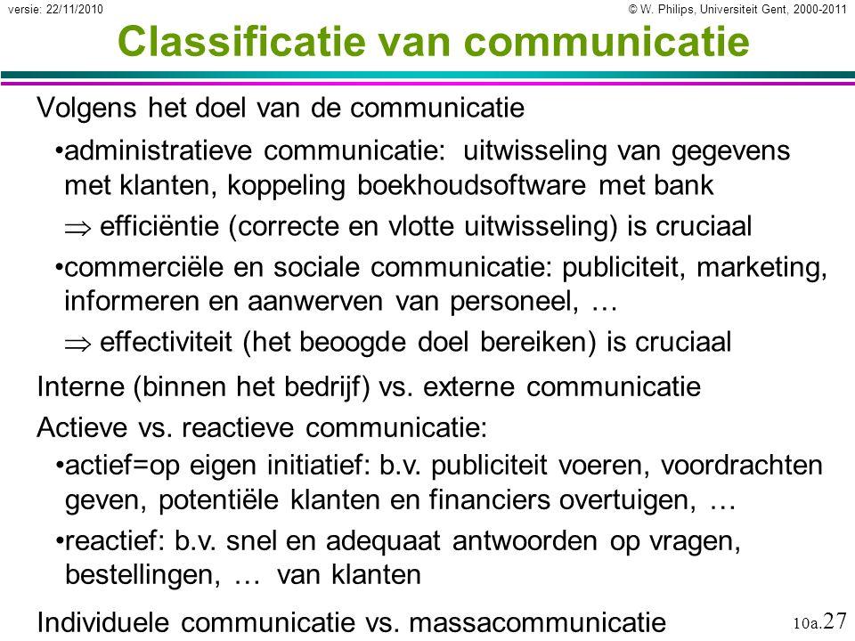 © W. Philips, Universiteit Gent, 2000-2011versie: 22/11/2010 10a. 27 Classificatie van communicatie Volgens het doel van de communicatie administratie
