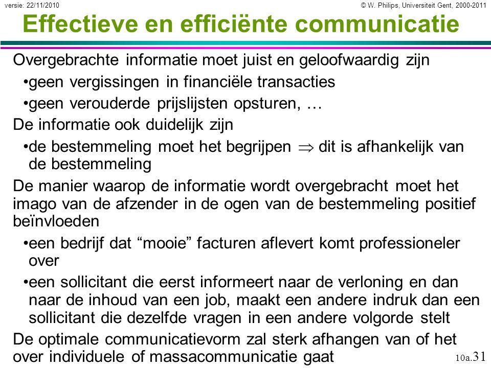 © W. Philips, Universiteit Gent, 2000-2011versie: 22/11/2010 10a. 31 Effectieve en efficiënte communicatie Overgebrachte informatie moet juist en gelo