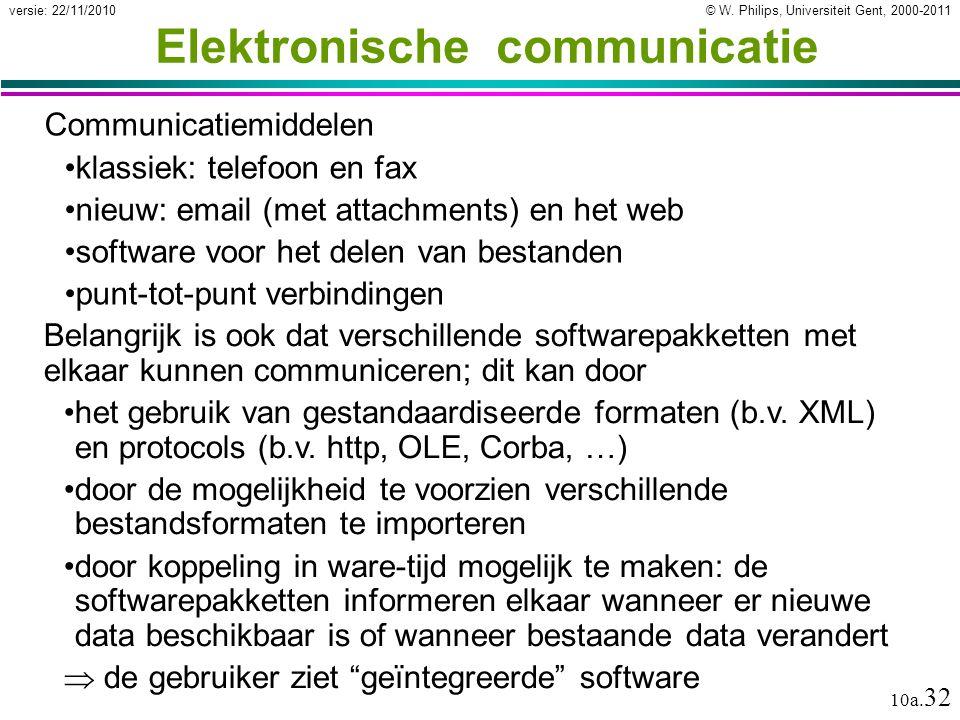 © W. Philips, Universiteit Gent, 2000-2011versie: 22/11/2010 10a. 32 Elektronische communicatie Communicatiemiddelen klassiek: telefoon en fax nieuw: