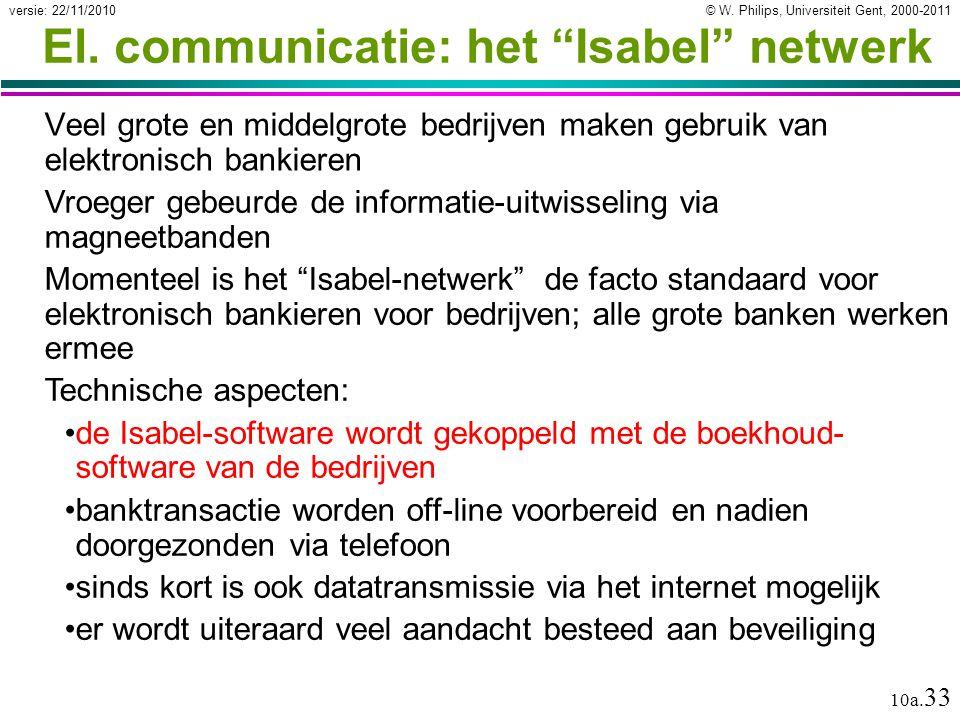 """© W. Philips, Universiteit Gent, 2000-2011versie: 22/11/2010 10a. 33 El. communicatie: het """"Isabel"""" netwerk Veel grote en middelgrote bedrijven maken"""