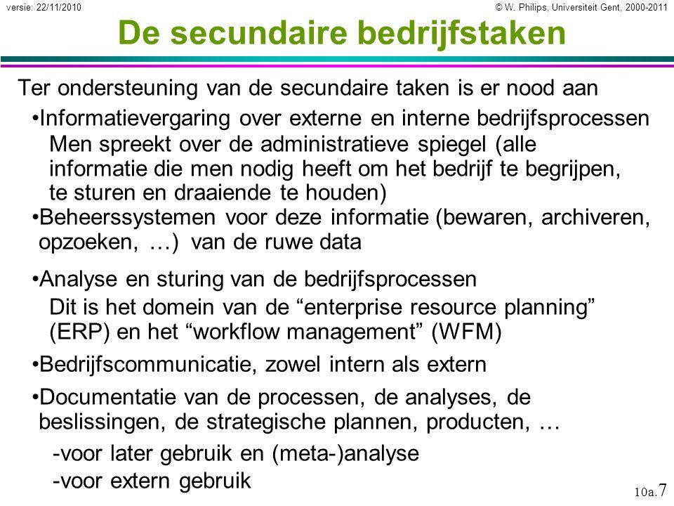 © W. Philips, Universiteit Gent, 2000-2011versie: 22/11/2010 10a. 7 De secundaire bedrijfstaken Ter ondersteuning van de secundaire taken is er nood a