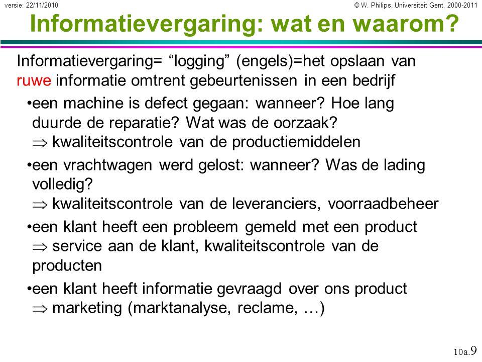 """© W. Philips, Universiteit Gent, 2000-2011versie: 22/11/2010 10a. 9 Informatievergaring: wat en waarom? Informatievergaring= """"logging"""" (engels)=het op"""
