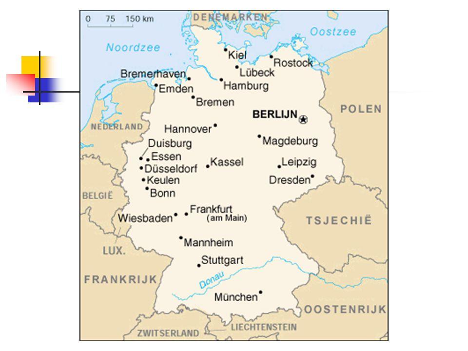 Berlijn Hoofdstad Duitse Bondsrepubliek (1990, verhuis regering van Bonn naar Berlijn in 1999) Deelstaat (Bundesland) Regierender Bürgemeister= burgemeester Senaat (8 senatoren) = regering (in Rotes Rathaus) Berlijns parlement (Abgeordnetenhaus) kiest de regering Rat der Bürgermeister = 12 burgemeesters van de districten (adviseren de regering)