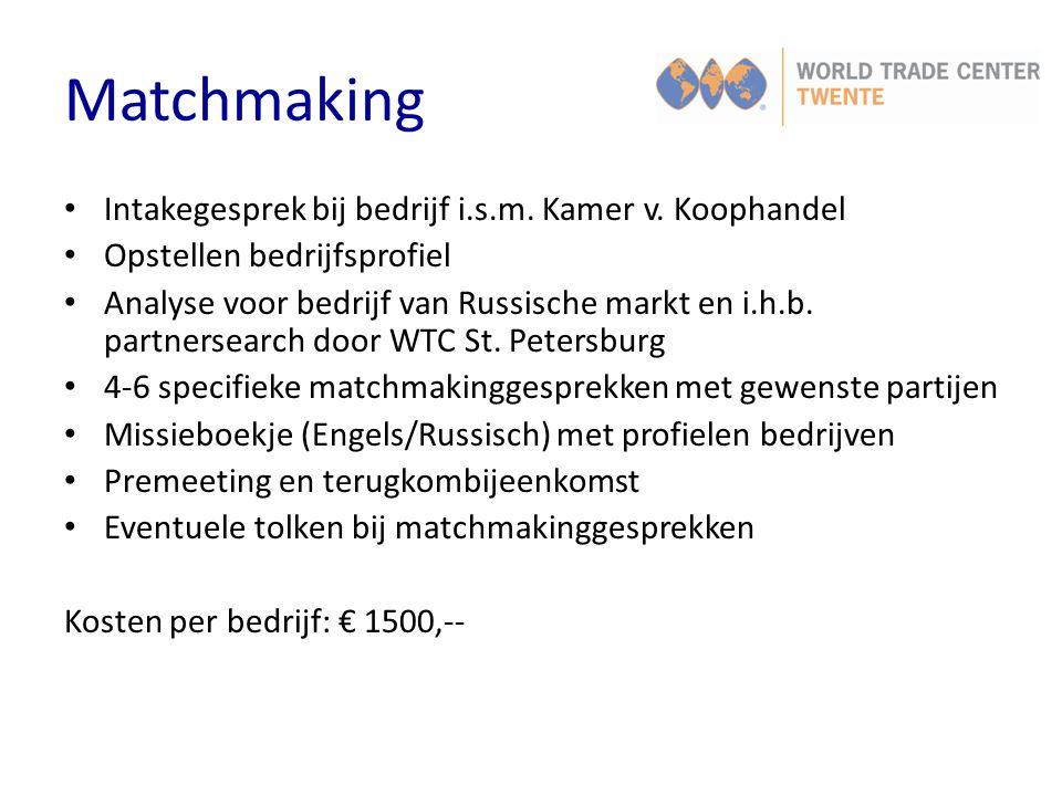 Matchmaking Intakegesprek bij bedrijf i.s.m. Kamer v. Koophandel Opstellen bedrijfsprofiel Analyse voor bedrijf van Russische markt en i.h.b. partners