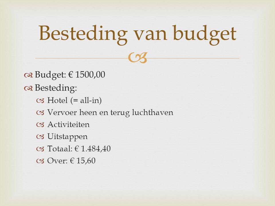   Budget: € 1500,00  Besteding:  Hotel (= all-in)  Vervoer heen en terug luchthaven  Activiteiten  Uitstappen  Totaal: € 1.484,40  Over: € 15