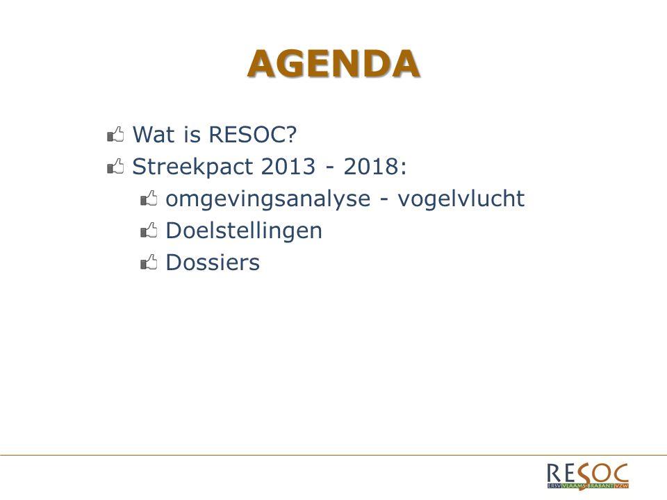 AGENDA Wat is RESOC? Streekpact 2013 - 2018: omgevingsanalyse - vogelvlucht Doelstellingen Dossiers