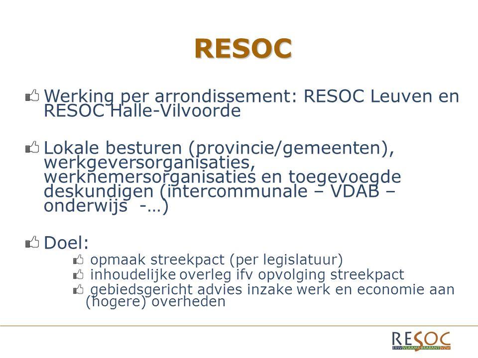 RESOC Werking per arrondissement: RESOC Leuven en RESOC Halle-Vilvoorde Lokale besturen (provincie/gemeenten), werkgeversorganisaties, werknemersorganisaties en toegevoegde deskundigen (intercommunale – VDAB – onderwijs -…) Doel: opmaak streekpact (per legislatuur) inhoudelijke overleg ifv opvolging streekpact gebiedsgericht advies inzake werk en economie aan (hogere) overheden