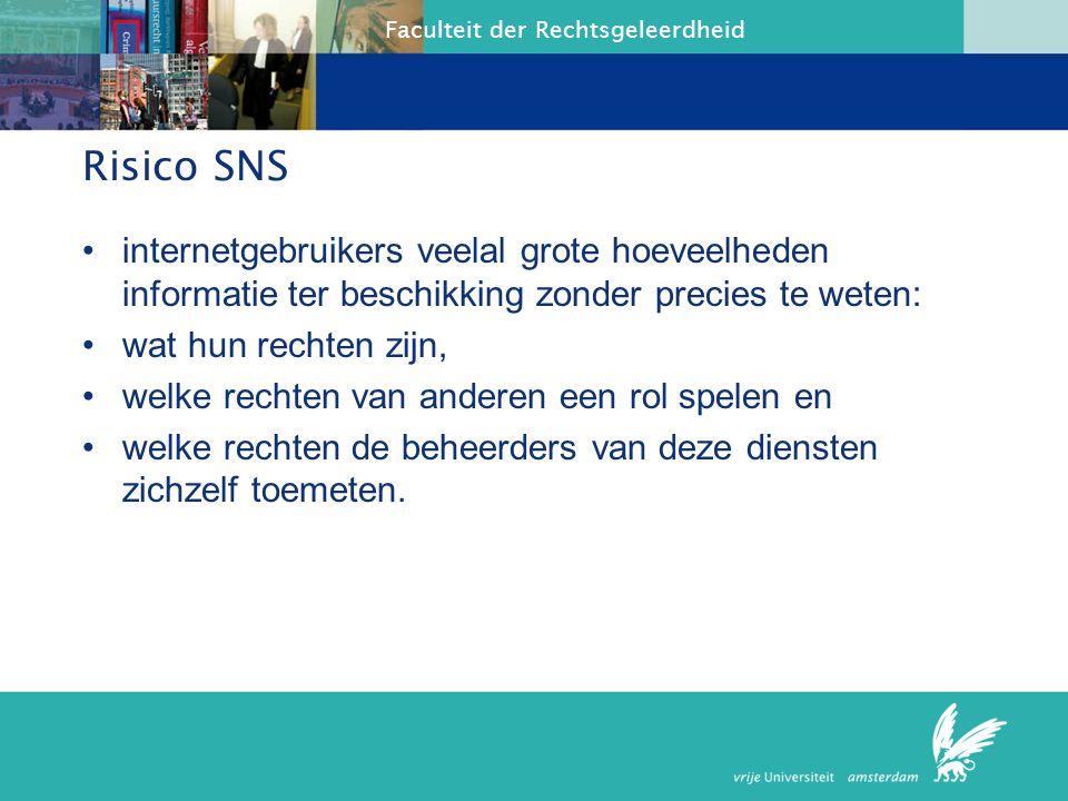 Faculteit der Rechtsgeleerdheid Kenmerken SNS Profiel Gegevensbestanden, foto's, films tekst Vriendenkring Communicatie: mail, chat, bulletinb.