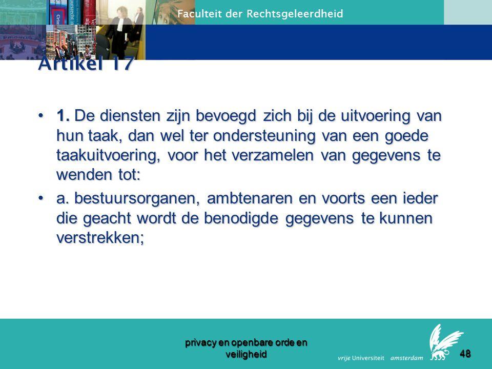Faculteit der Rechtsgeleerdheid privacy en openbare orde en veiligheid 47 WOIVD Artikel 6:2.