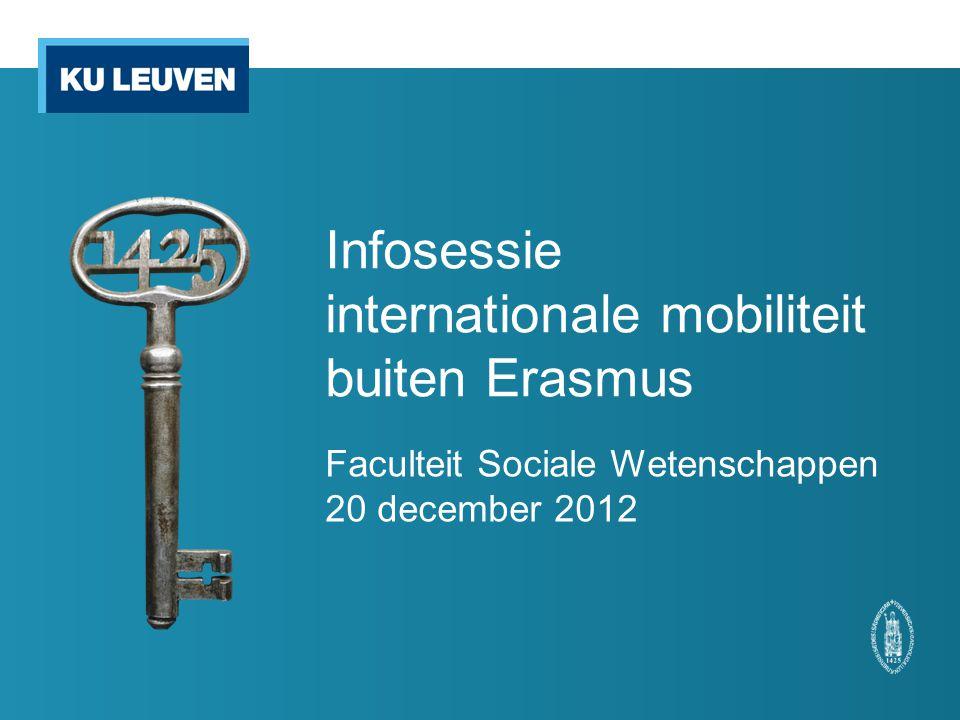 Infosessie internationale mobiliteit buiten Erasmus Faculteit Sociale Wetenschappen 20 december 2012