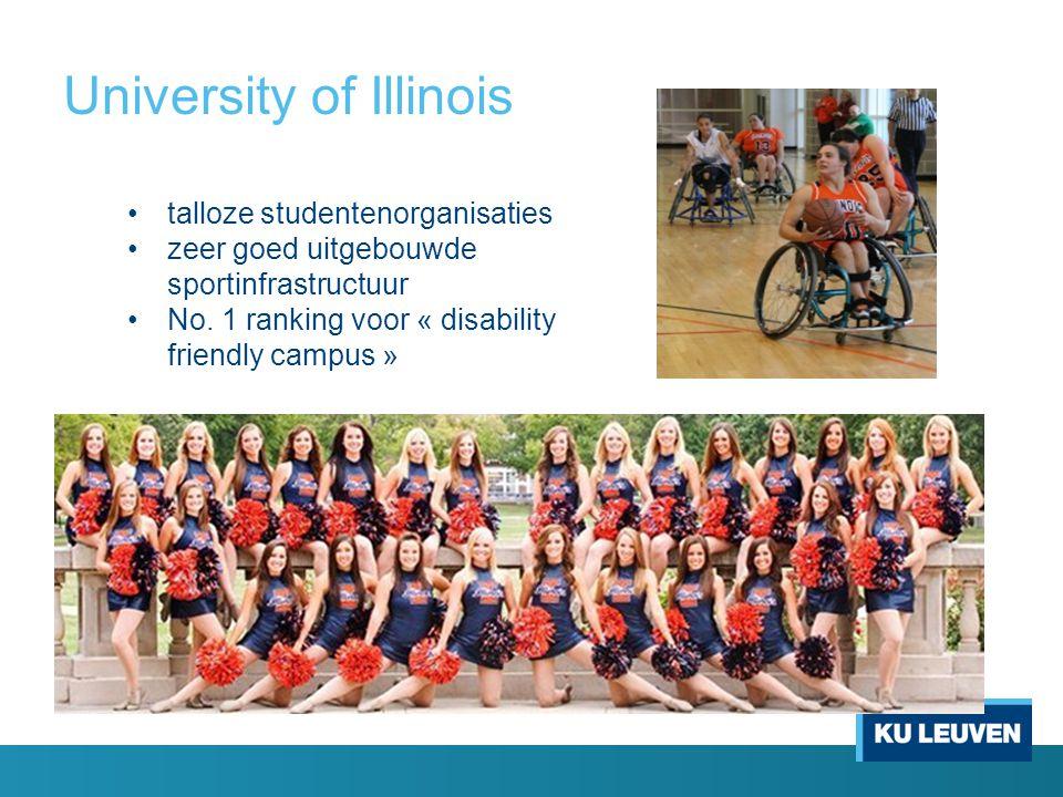 University of Illinois talloze studentenorganisaties zeer goed uitgebouwde sportinfrastructuur No. 1 ranking voor « disability friendly campus »
