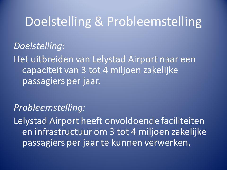 Doelstelling & Probleemstelling Doelstelling: Het uitbreiden van Lelystad Airport naar een capaciteit van 3 tot 4 miljoen zakelijke passagiers per jaa