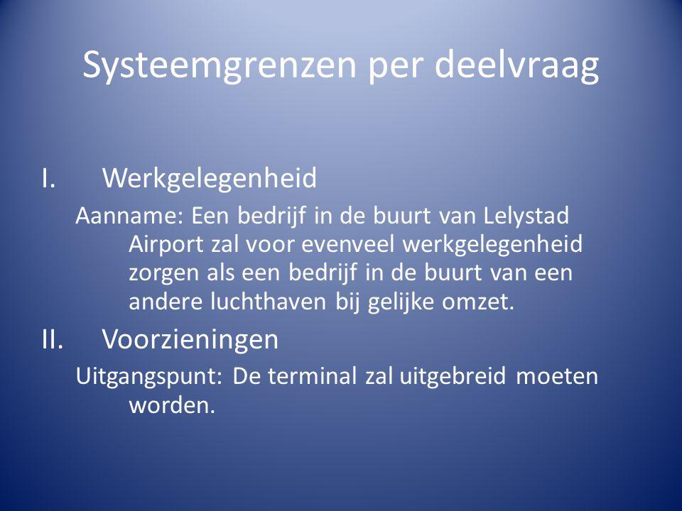 Systeemgrenzen per deelvraag (2) III.Gegevens zakelijke luchtvaart Uitgangspunt: Als uitgangspunt voor Lelystad Airport gaan wij ervan uit dat Lelystad Airport als homebase zal dienen.
