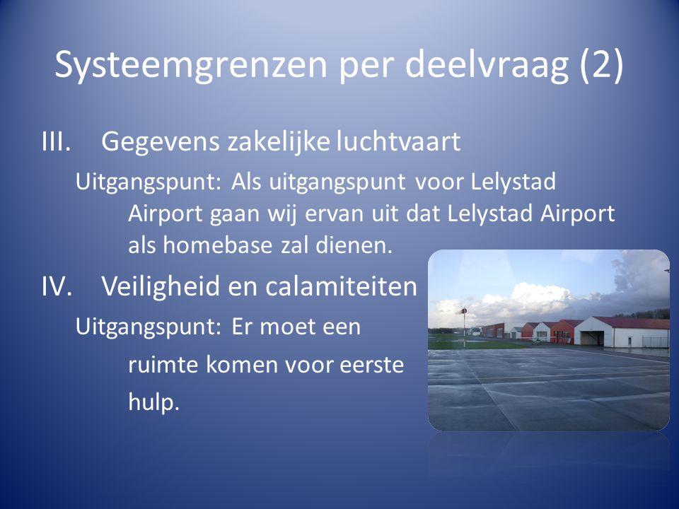 Systeemgrenzen per deelvraag (3) V.Effecten op het milieu Systeemgrens: Het gaat er om dat de aanvliegroutes naar Lelystad Airport zo liggen dat er zo min mogelijk geluidshinder is voor omwonenden en dat bestaande routes niet onveilig gekruist worden.
