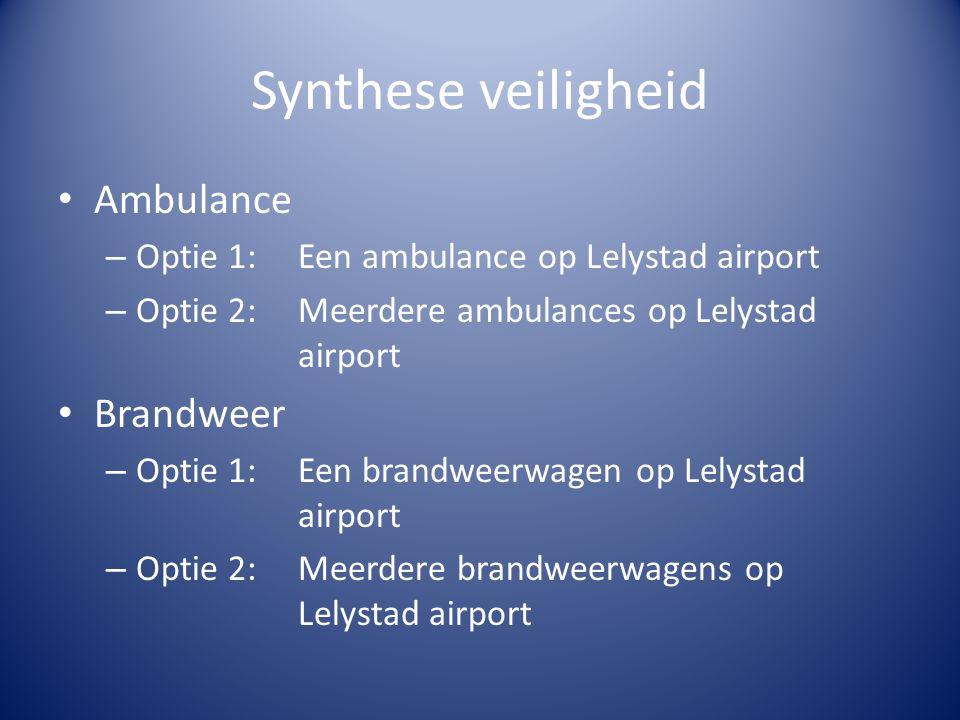 Synthese veiligheid Ambulance – Optie 1:Een ambulance op Lelystad airport – Optie 2:Meerdere ambulances op Lelystad airport Brandweer – Optie 1:Een br