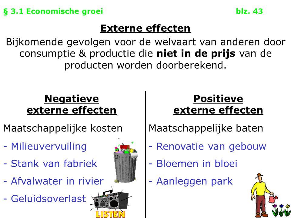 § 3.1 Economische groeiblz. 43 Negatieve externe effecten Positieve externe effecten Maatschappelijke kostenMaatschappelijke baten Externe effecten Bi