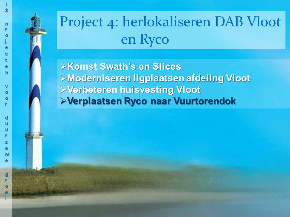  Komst Swath's en Slices  Moderniseren ligplaatsen afdeling Vloot  Verbeteren huisvesting Vloot  Verplaatsen Ryco naar Vuurtorendok Project 4: herlokaliseren DAB Vloot en Ryco