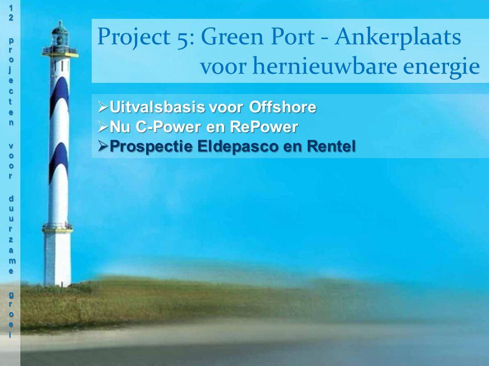 Uitvalsbasis voor Offshore  Nu C-Power en RePower  Prospectie Eldepasco en Rentel Project 5: Green Port - Ankerplaats voor hernieuwbare energie