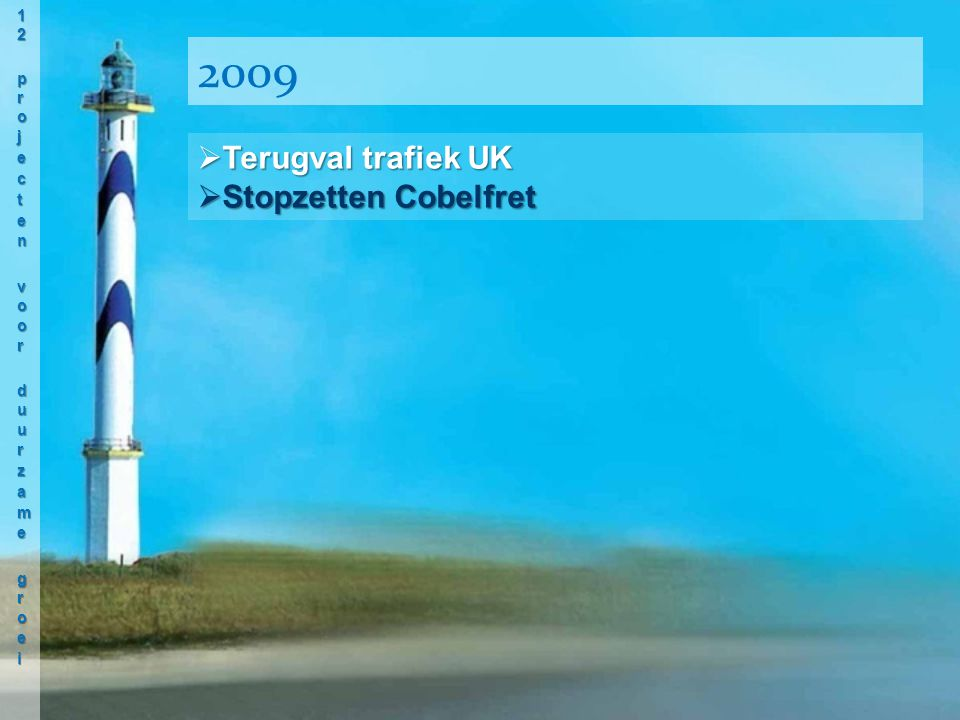  Terugval trafiek UK  Stopzetten Cobelfret 2009