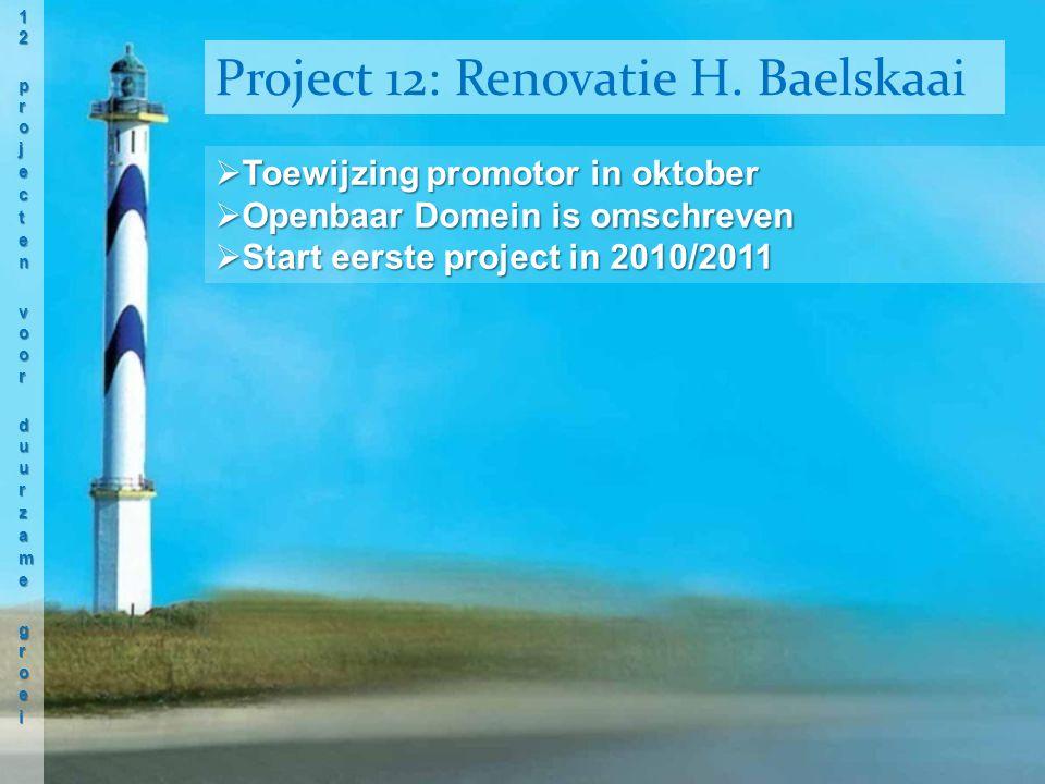  Toewijzing promotor in oktober  Openbaar Domein is omschreven  Start eerste project in 2010/2011 Project 12: Renovatie H.