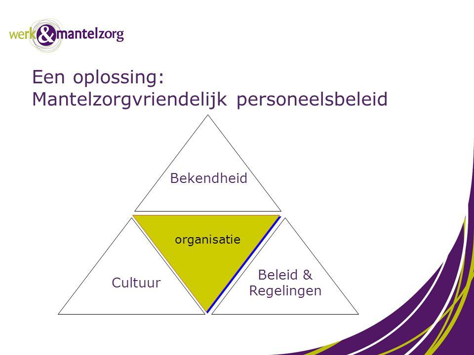 Een oplossing: Mantelzorgvriendelijk personeelsbeleid organisatie Bekendheid Cultuur Beleid & Regelingen