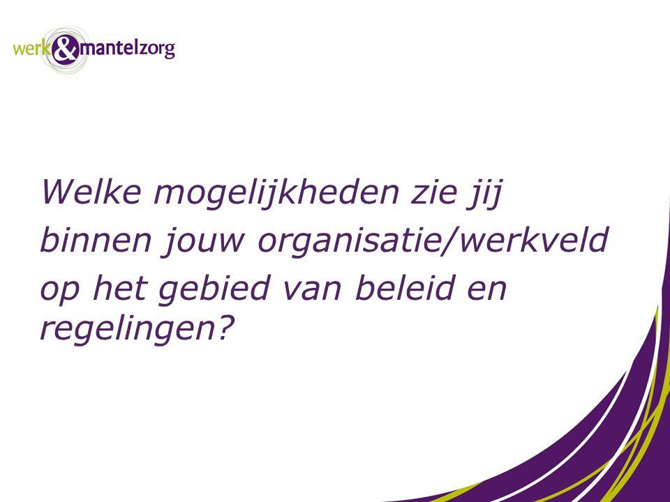 Welke mogelijkheden zie jij binnen jouw organisatie/werkveld op het gebied van beleid en regelingen?