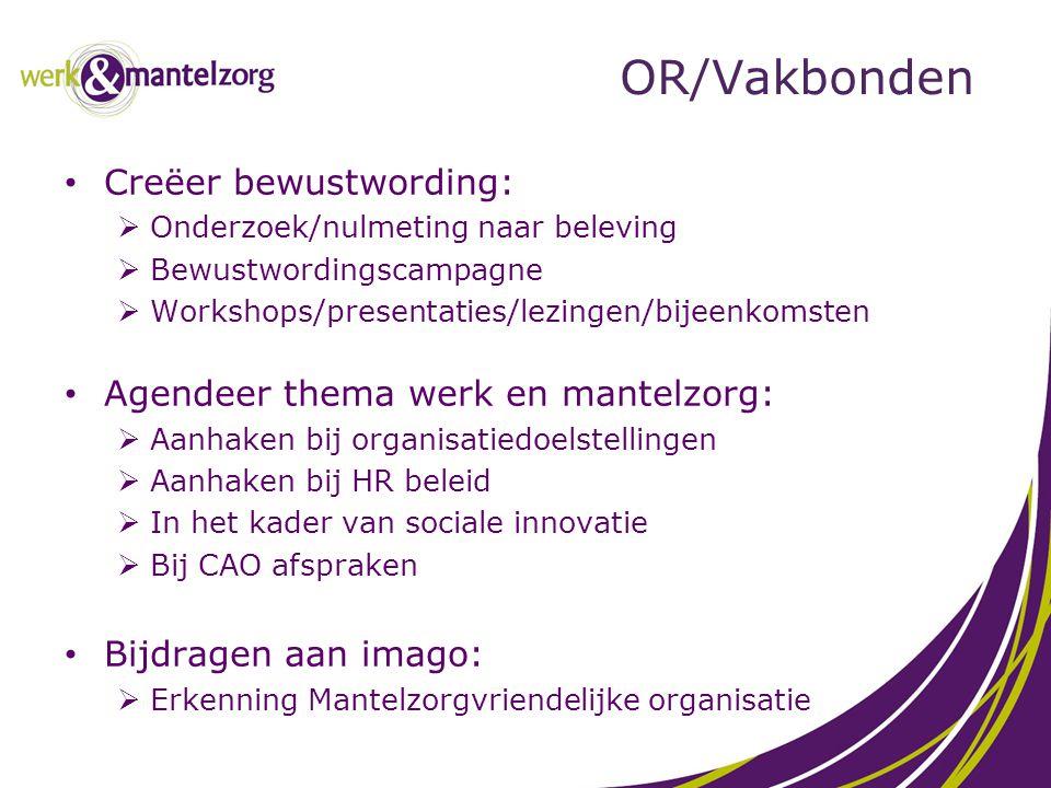 OR/Vakbonden Creëer bewustwording:  Onderzoek/nulmeting naar beleving  Bewustwordingscampagne  Workshops/presentaties/lezingen/bijeenkomsten Agende