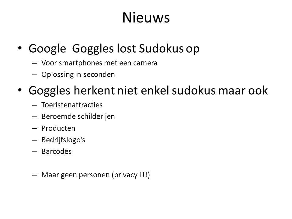 Nieuws Google Goggles lost Sudokus op – Voor smartphones met een camera – Oplossing in seconden Goggles herkent niet enkel sudokus maar ook – Toeristenattracties – Beroemde schilderijen – Producten – Bedrijfslogo's – Barcodes – Maar geen personen (privacy !!!)