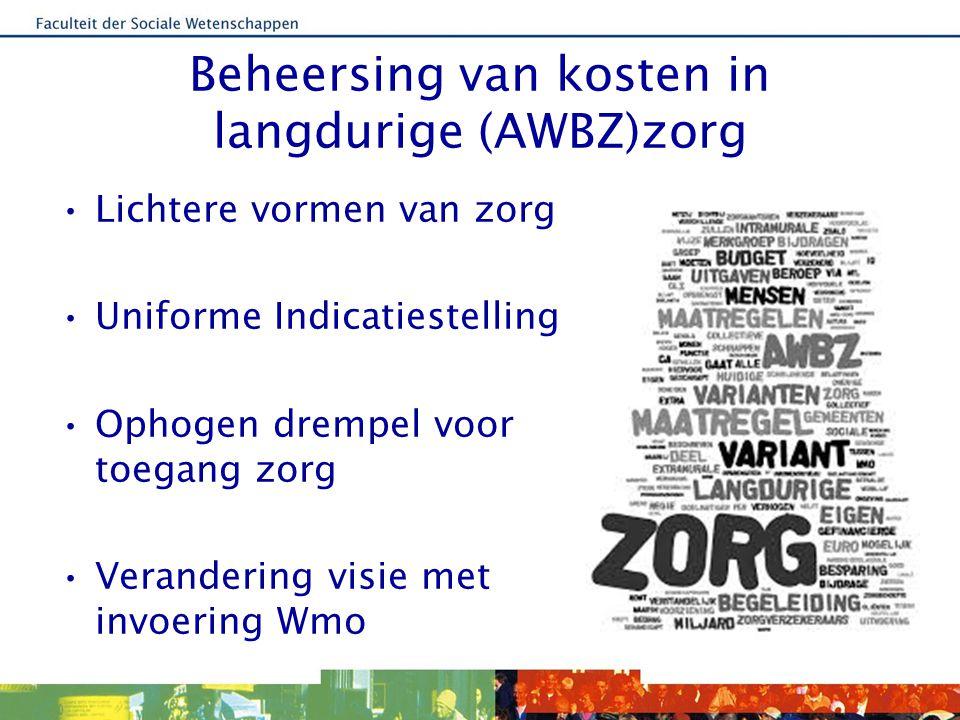 Beheersing van kosten in langdurige (AWBZ)zorg Lichtere vormen van zorg Uniforme Indicatiestelling Ophogen drempel voor toegang zorg Verandering visie