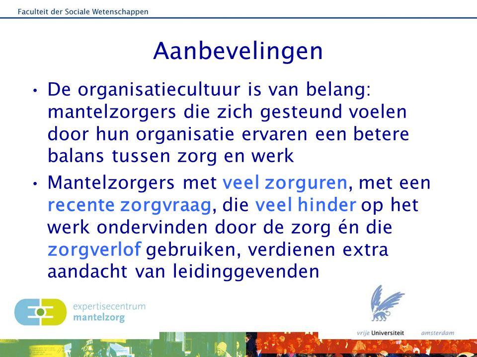 Aanbevelingen De organisatiecultuur is van belang: mantelzorgers die zich gesteund voelen door hun organisatie ervaren een betere balans tussen zorg e