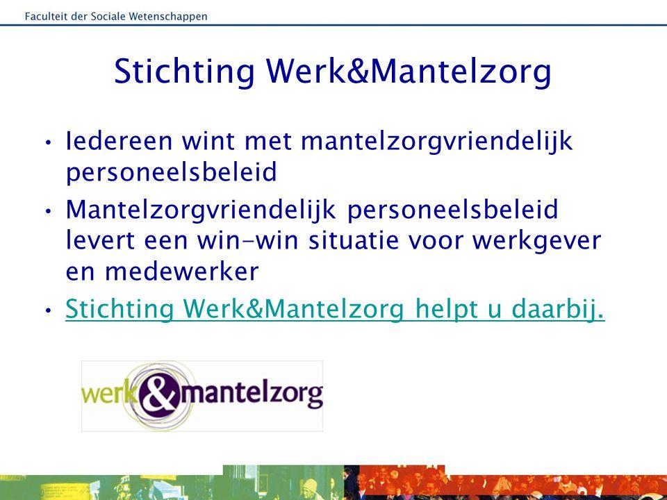 Stichting Werk&Mantelzorg Iedereen wint met mantelzorgvriendelijk personeelsbeleid Mantelzorgvriendelijk personeelsbeleid levert een win-win situatie