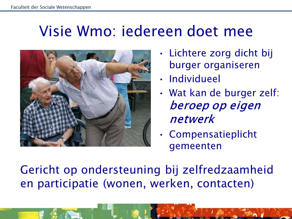 Visie Wmo: iedereen doet mee Lichtere zorg dicht bij burger organiseren Individueel Wat kan de burger zelf: beroep op eigen netwerk Compensatieplicht
